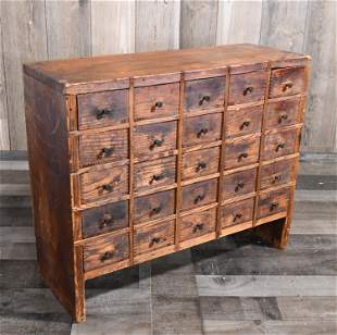 ANTIQUE PINE 25 DRAWER APOTHECARY CHEST