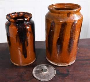 TWO 19TH C. REDWARE STORAGE JARS WITH MANGANESE