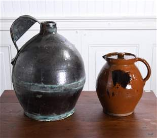 TWO REDWARE PIECES, PITCHER AND JUG
