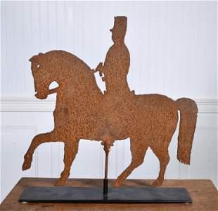 SHEET METAL HORSE AND RIDER WEATHERVANE.