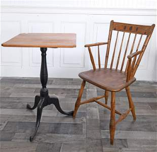 19TH C. CHILD'S WINDSOR ARM CHAIR AND QUEEN ANNE