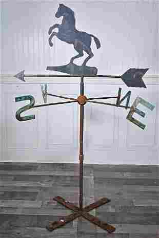 ENGLISH REARING HORSE WEATHERVANE WITH ORDINALS.
