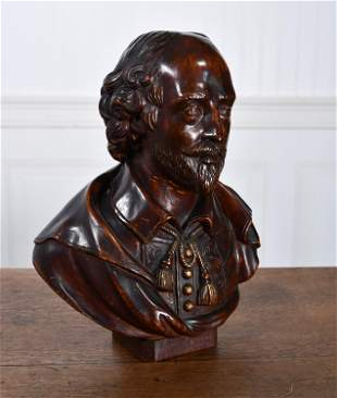 CARVED WOODEN BUST OF SHAKESPEARE.