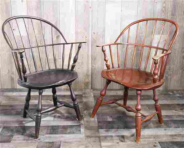 TWO 18TH C. SACK-BACK WINDSOR ARM CHAIRS