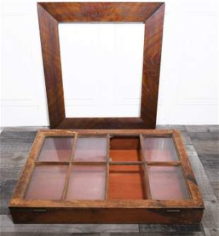 19TH C. CHERRY COUNTRY STORE DISPLAY CASE AND GRAIN