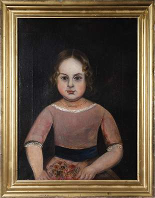 19TH C. O/C, PORTRAIT OF YOUNG GIRL HOLDING FLOWERS.