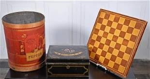 TOLEWARE DOCUMENT BOX, NELLIE M EATON, GAME BOARD, ETC.
