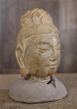 CHINESE CARVED STONE HEAD QUAN YIN