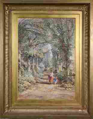 UNSIGNED GLAZED WATERCOLOR OF MOTHER AND DAUGHTER.