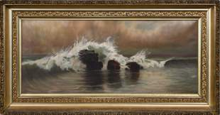 SIGNED OIL ON CANVAS OF SEASCAPE.