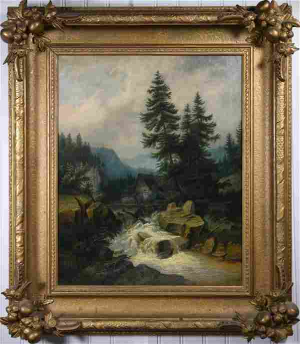19TH C. OIL ON CANVAS, LANDSCAPE WITH MOUNTAIN RIVER.