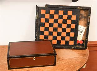 19TH C. PAINTED BOX & GAMEBOARD