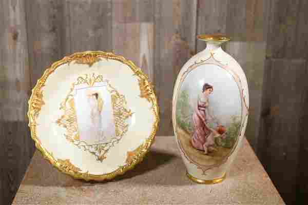 TWO PIECES OF LIMOGES FRANCE PORCELAIN