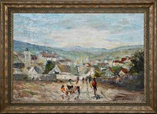 SIGNED MID 20TH C. OIL ON CANVAS, ON THE ROAD INTO A