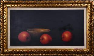 CONTEMPORARY OIL ON CANVAS OF STILL LIFE WITH APPLES