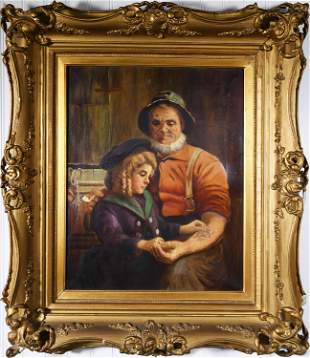 SIGNED AUGUSTE MULLER OIL ON CANVAS.