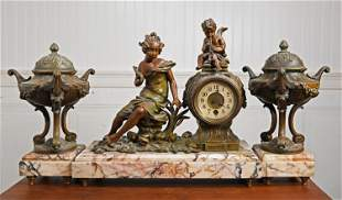 19TH C. FRENCH MANTEL CLOCK WITH GARNITURES BY PARIS