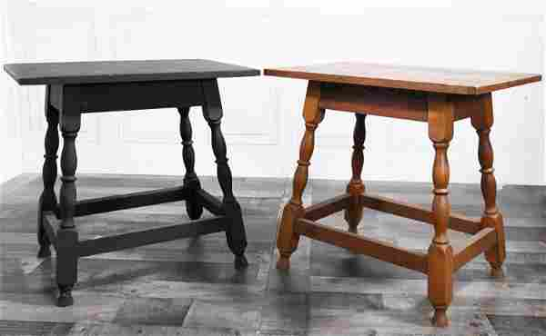 TWO CONTEMPORARY STRETCHER BASE TAVERN TABLES