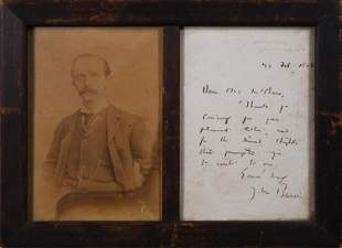 1908 SIGNED JAMES MATTHEW BARRIE LETTER AND PHOTO