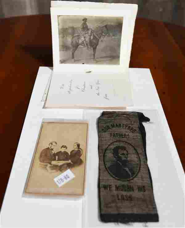1865 PRESIDENT LINCOLN MOURNING RIBBON, PHOTO AND CARD.