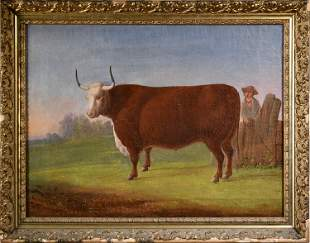 ANTIQUE PRIMITIVE OIL ON CANVAS, MAN WITH BULL