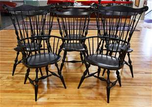 SET OF WINDSOR STYLE FAN BACK DINING CHAIRS