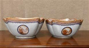 PAIR OF 19TH C. CHINESE EXPORT SERVING BOWLS