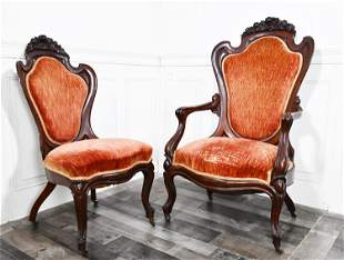 TWO LAMINATED ROSEWOOD CHAIRS, ATTRIB. TO J.H. BELTER.