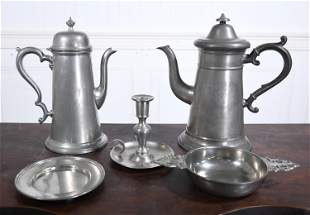 TWO PEWTER COFFEE POTS, PORRINGER, PLATE, CHAMBER STICK