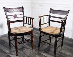 TWO 19TH C. SHERATON ARM CHAIRS