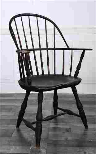 18TH C. WINDSOR BOW BACK ARMCHAIR OLD COLOR