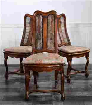 ENGLISH EARLY 18TH C. WALNUT SIDE CHAIR WITH 2 OTHERS
