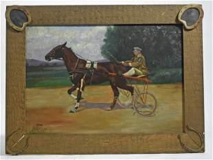 WILBUR LEIGHTON DUNTLEY, 1905, HORSE AND SULKY, O/C.