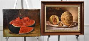 TWO ANTIQUE OIL PAINTINGS OF MELONS