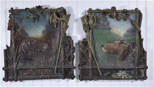 PAIR OF ANTIQUE ENGLISH HUNTING DOG PLASTER AND PAINTED