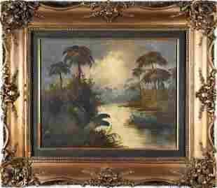 LATE 19TH C. OIL ON CANVAS BOARD SIGNED TROPICAL RIVER