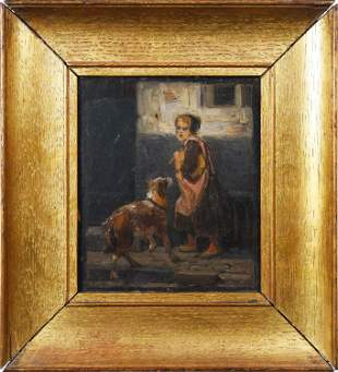SMALL SIGNED OIL ON BOARD OF GIRL AND DOG.