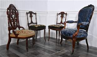 GROUP OF VICTORIAN SEATING FURNITURE ROSEWOOD ARMCHAIR