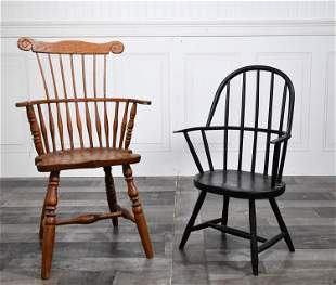 TWO VINTAGE BENCH MADE CHILD WINDSOR CHAIRS.