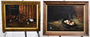TWO ANTIQUE OIL PAINTINGS, FARMYARD WITH CHICKENS AND
