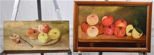 TWO SIGNED ANTIQUE OIL PAINTINGS, APPLES