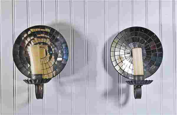 20TH C. PAIR OF MIRRORED CANDLE SCONCES