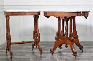 TWO VICTORIAN WALNUT PARLOR TABLES.