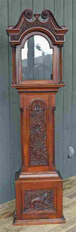 FINELY CARVED ANTIQUE MAHOGANY CLOCK CASE, CA 1900