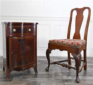EDWARDIAN INLAID CABINET AND CHAIR