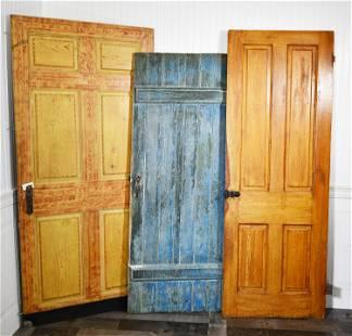 3 ANTIQUE PAINTED DOORS