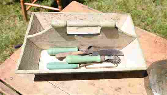 19TH C. WALL BOX, KNIFE TRAY AND BRASS BELL