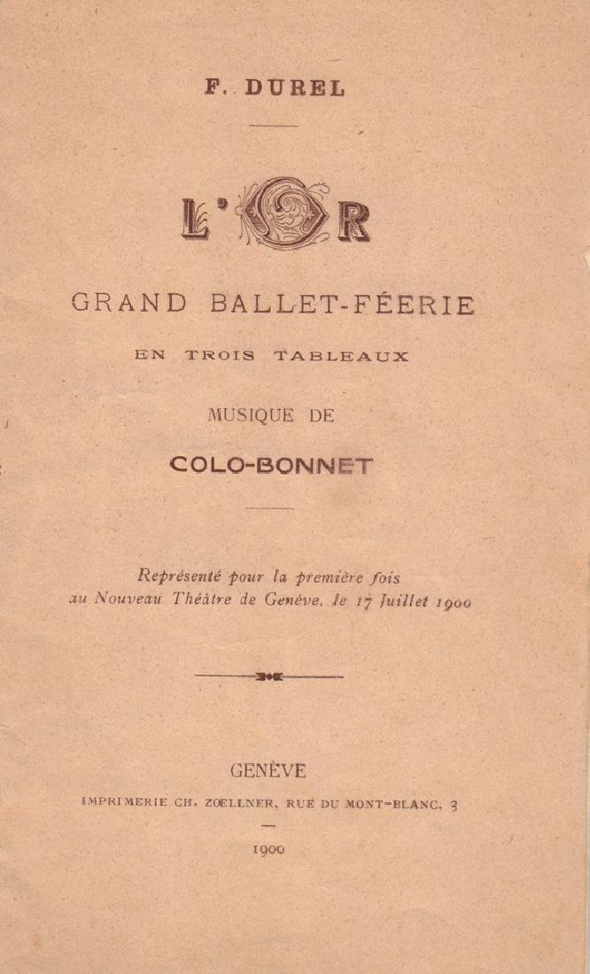 [Durel, F. Libretto to ballet-spectacular in three acts