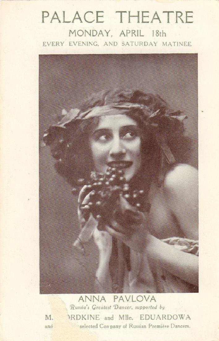 [Russian ballet, Pavlova] Ad. card about Anna Pavlowa's