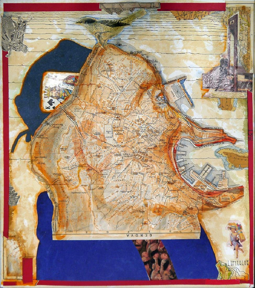 Brusilovsky, A. Collage with a map. [the end 1990s